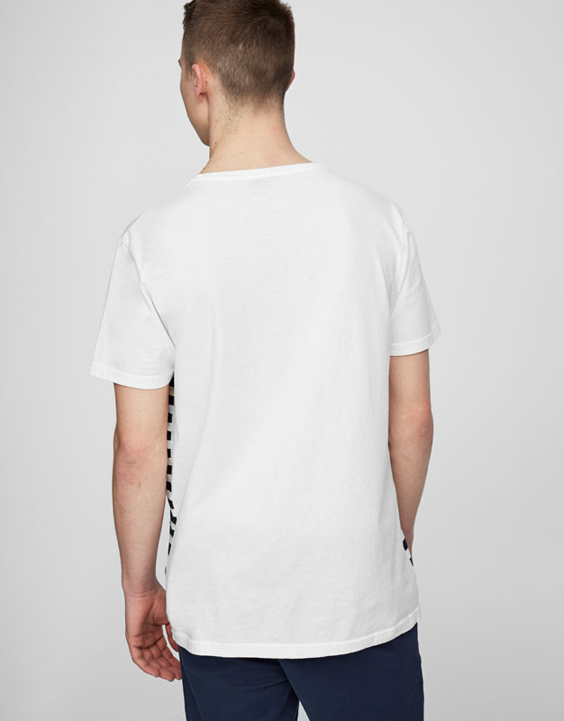 Striped T-shirt with printed pocket