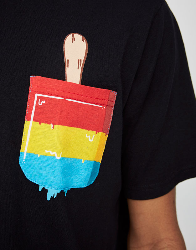 T-shirt with ice cream print pocket