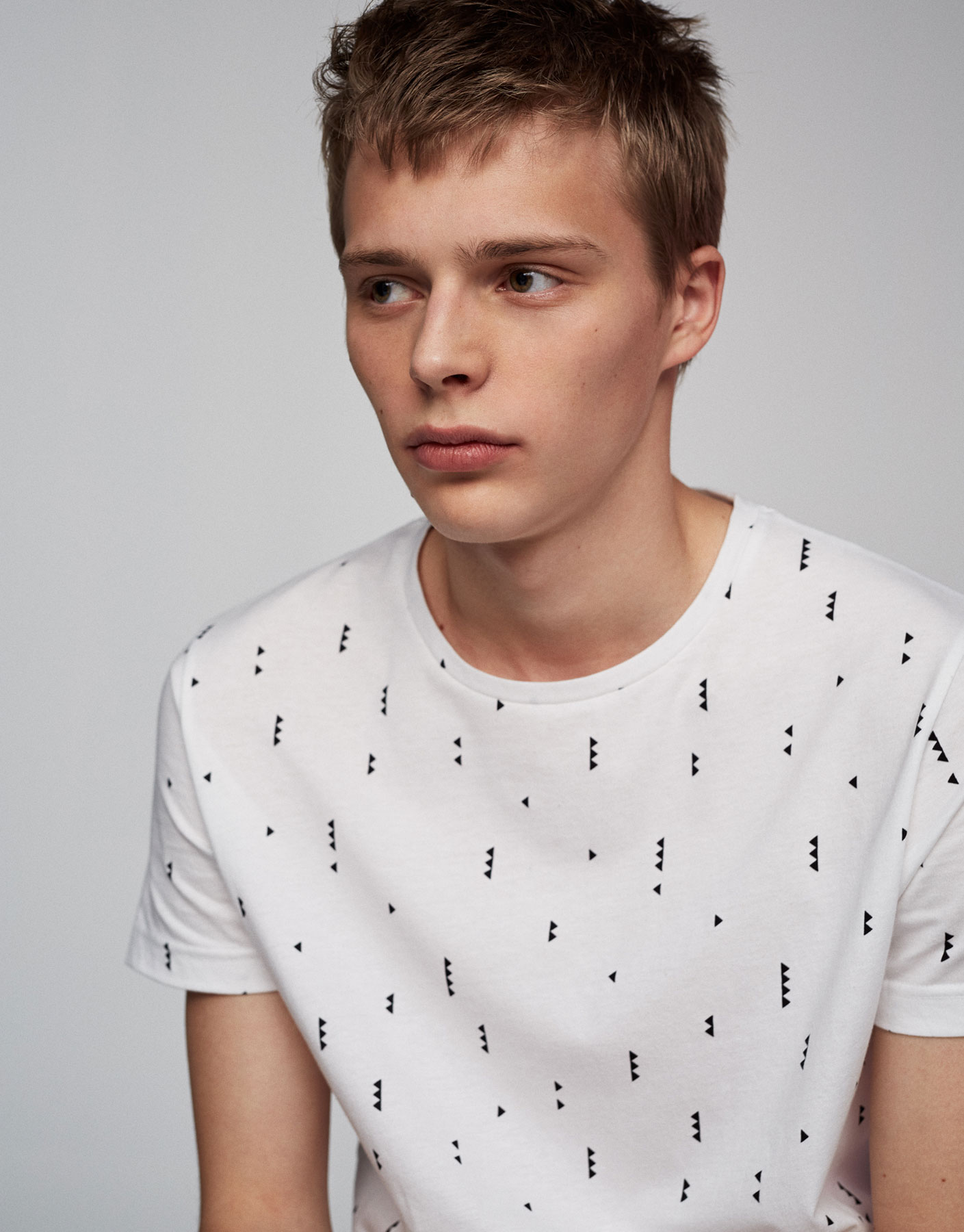 Geometric print white T-shirt
