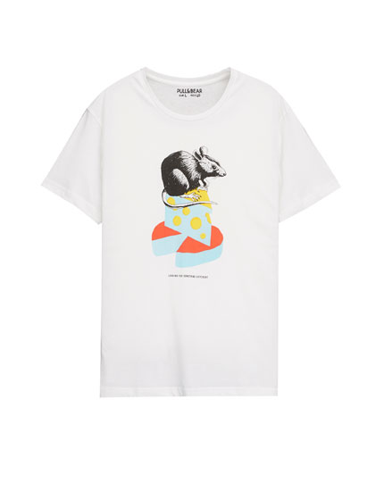 T-shirt with cheese and mouse print