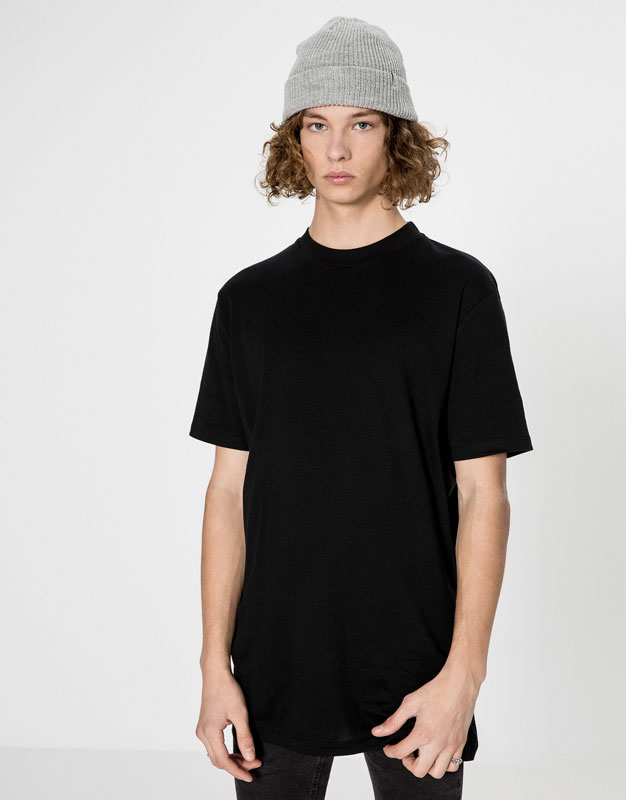 Short sleeved T-shirt with a ribbed collar