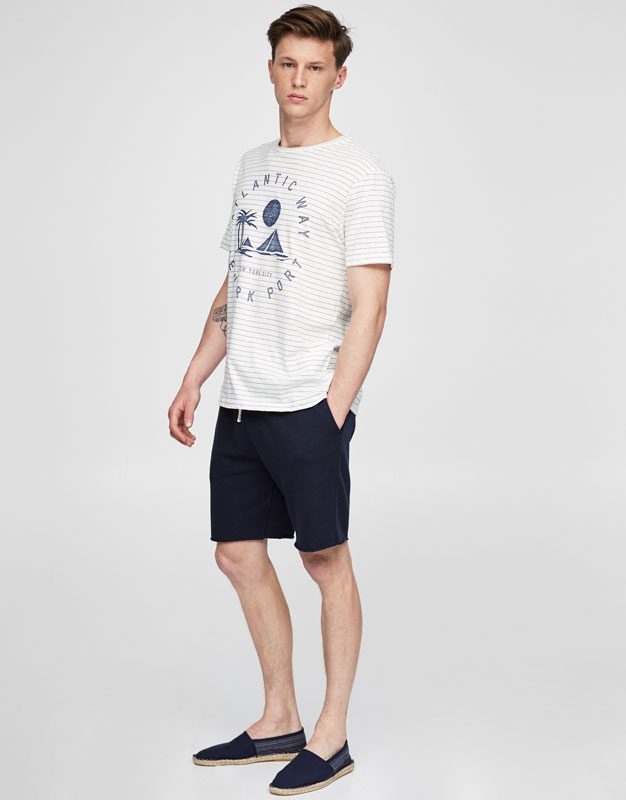 Camiseta indigo rayas y print