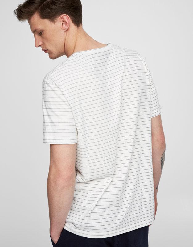 Striped and printed indigo t-shirt