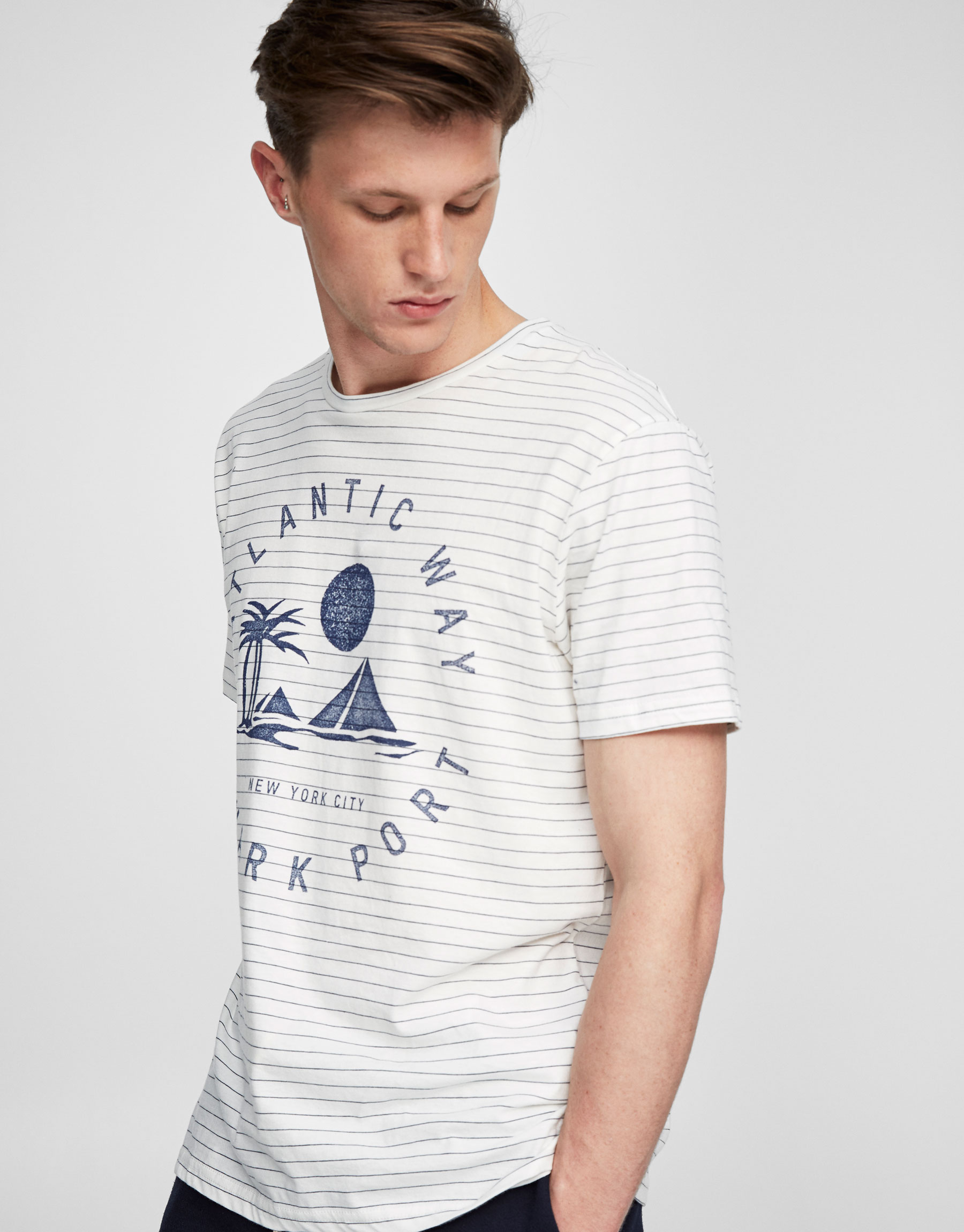 Striped and printed indigo t-shirt