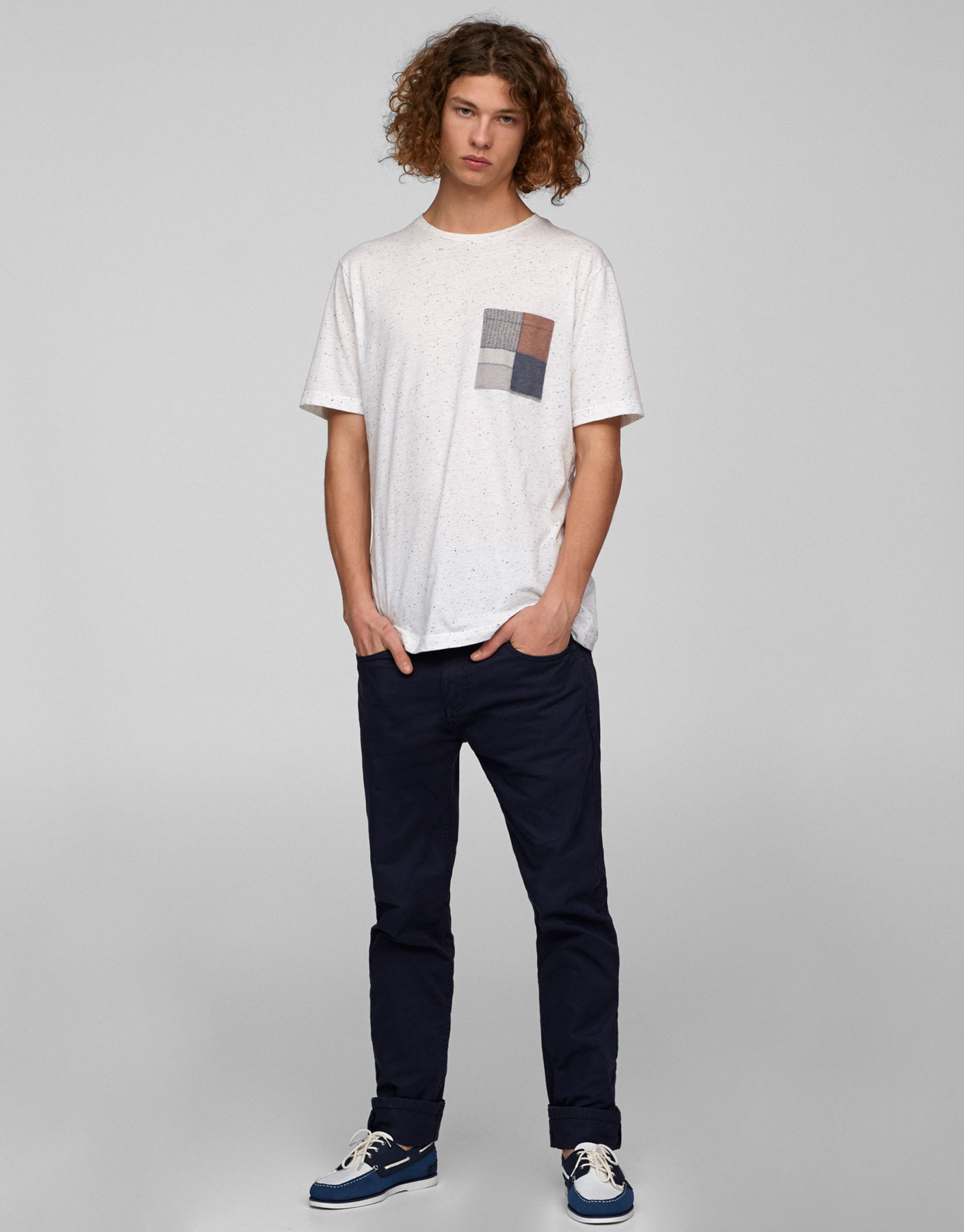 Short sleeve printed T-shirt with pocket
