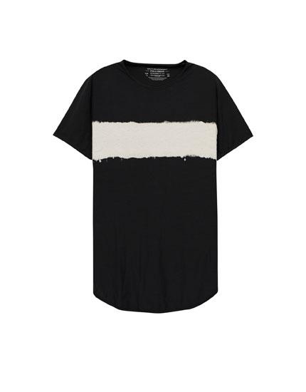 Striped tie-die effect T-shirt