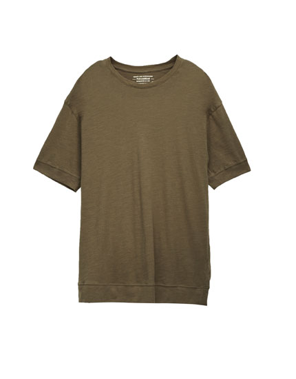 T-shirt with a wrapover collar