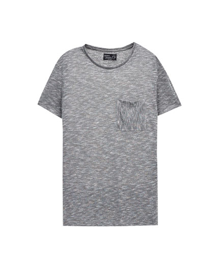 Textured weave T-shirt with pocket