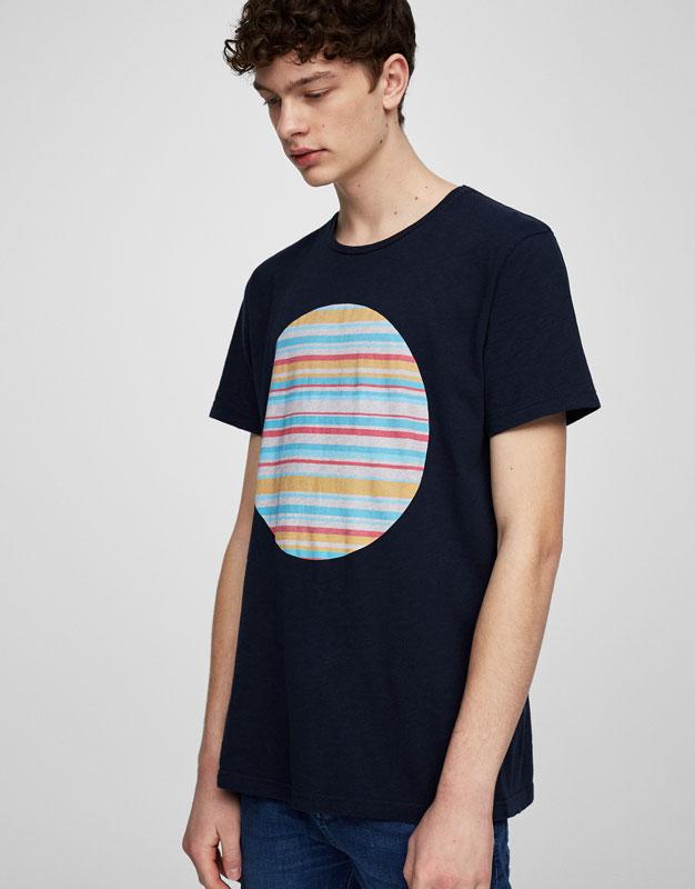 Striped circle print T-shirt