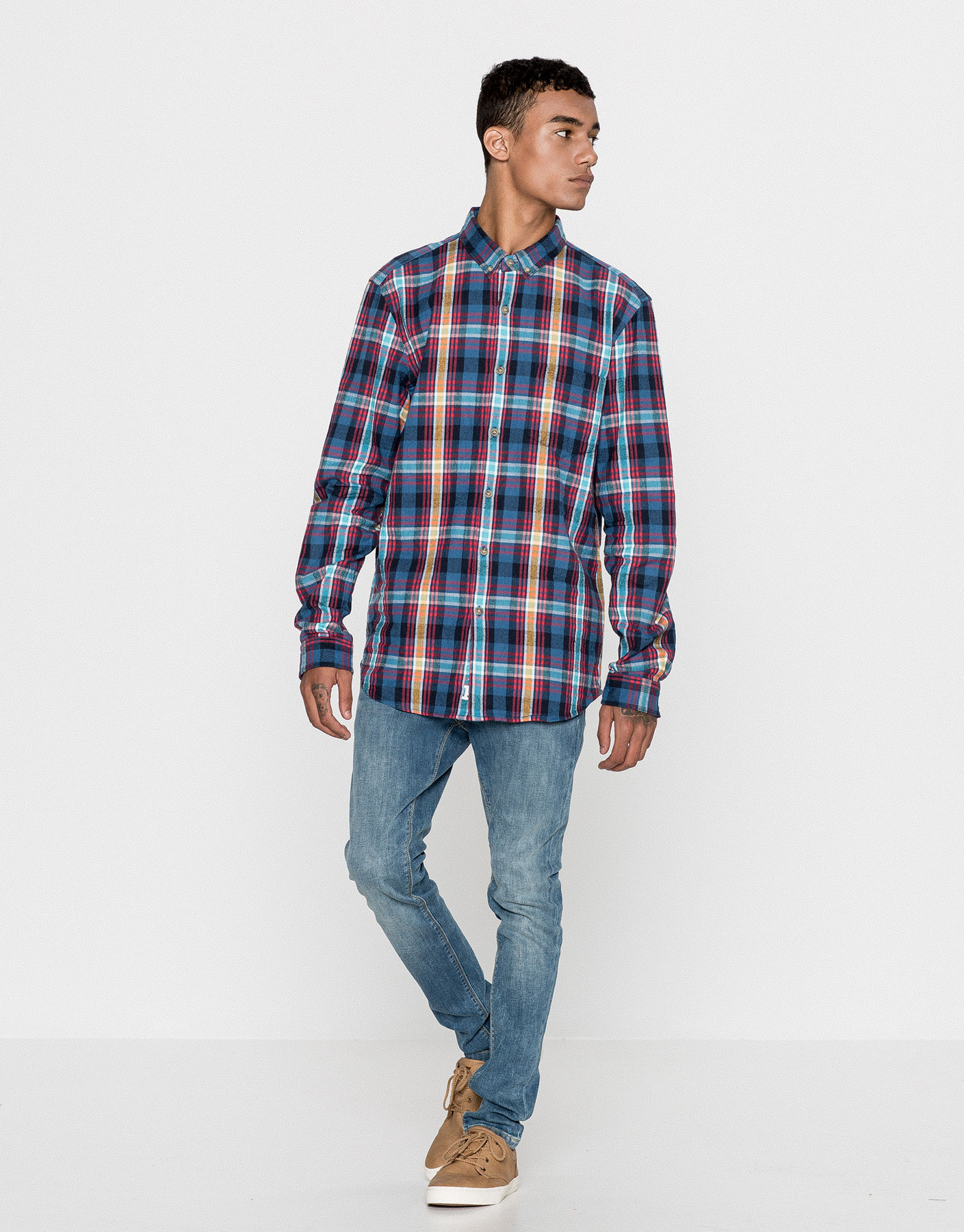 Checked faded flannel shirt