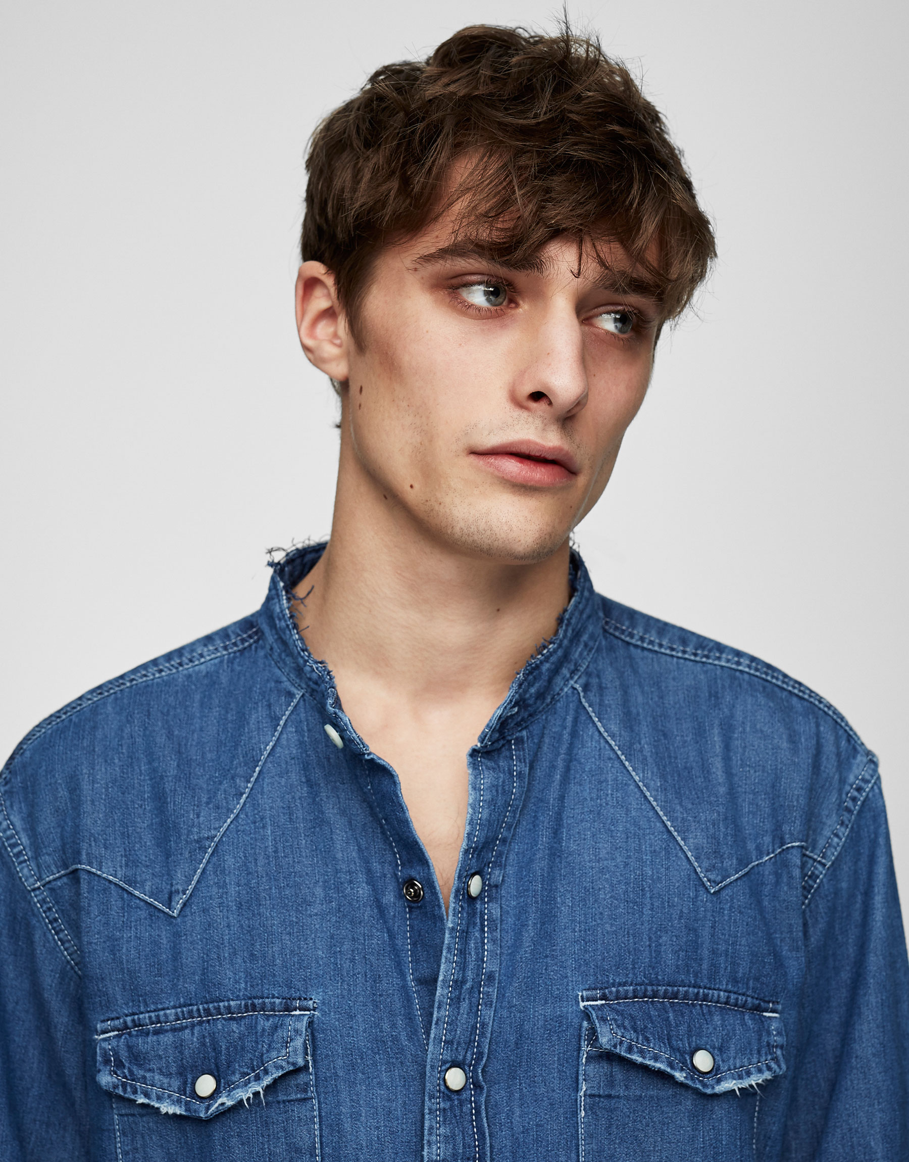 Denim cowboy shirt with frayed collar