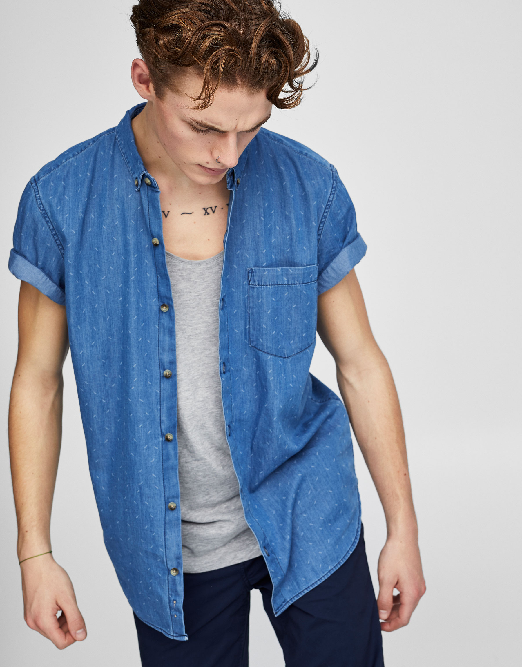 Mini print denim shirt with short sleeves