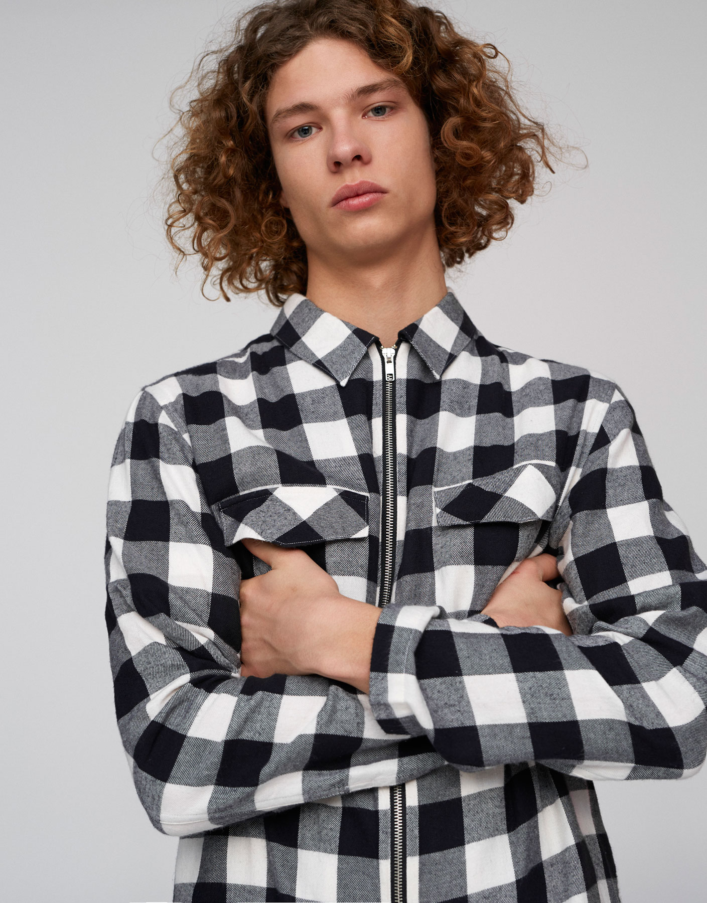Checked overshirt with zip closure