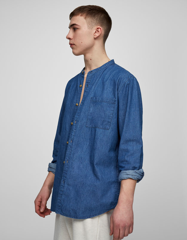 Mandarin collar basic denim shirt