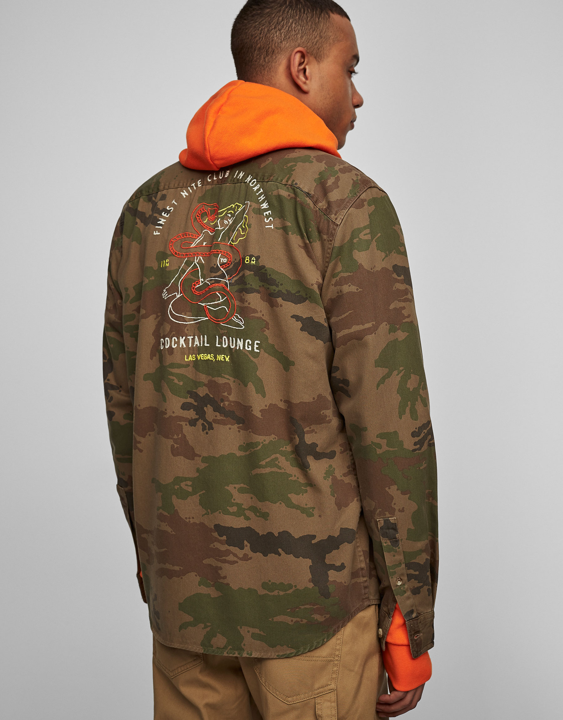 Camouflage overshirt with embroidery on the back