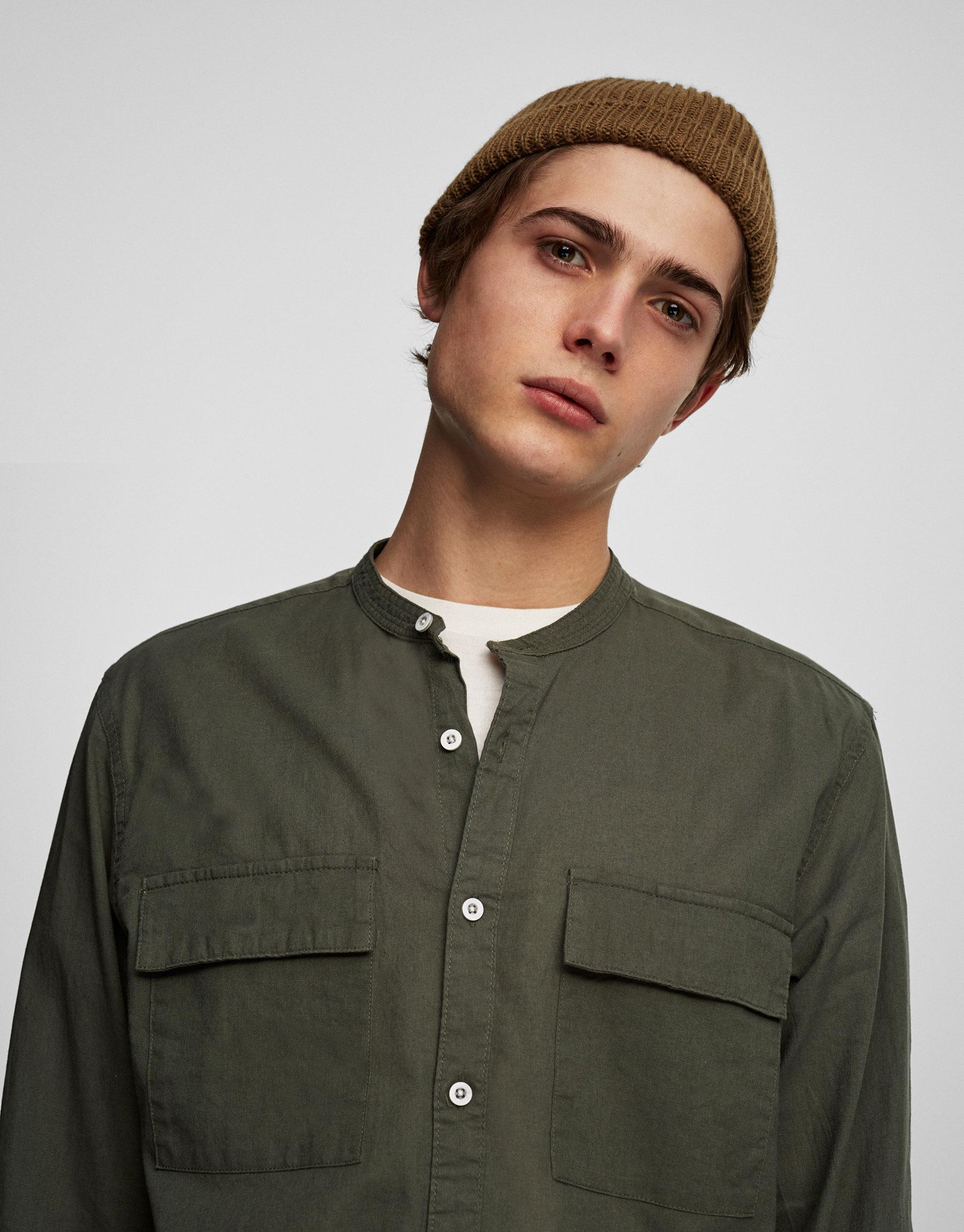 Mandarin collar utility shirt