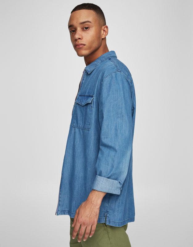Zipped denim overshirt