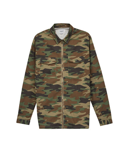 Zipped camouflage overshirt