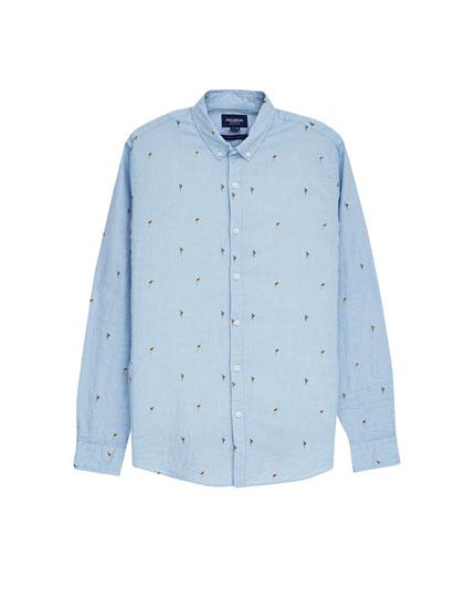 Camisa azul print aloha