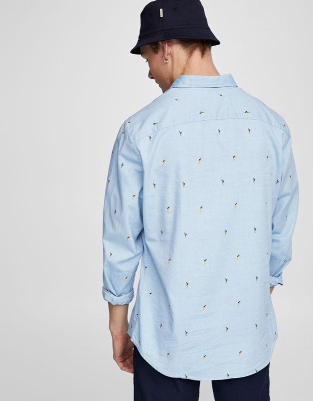 Aloha print blue shirt