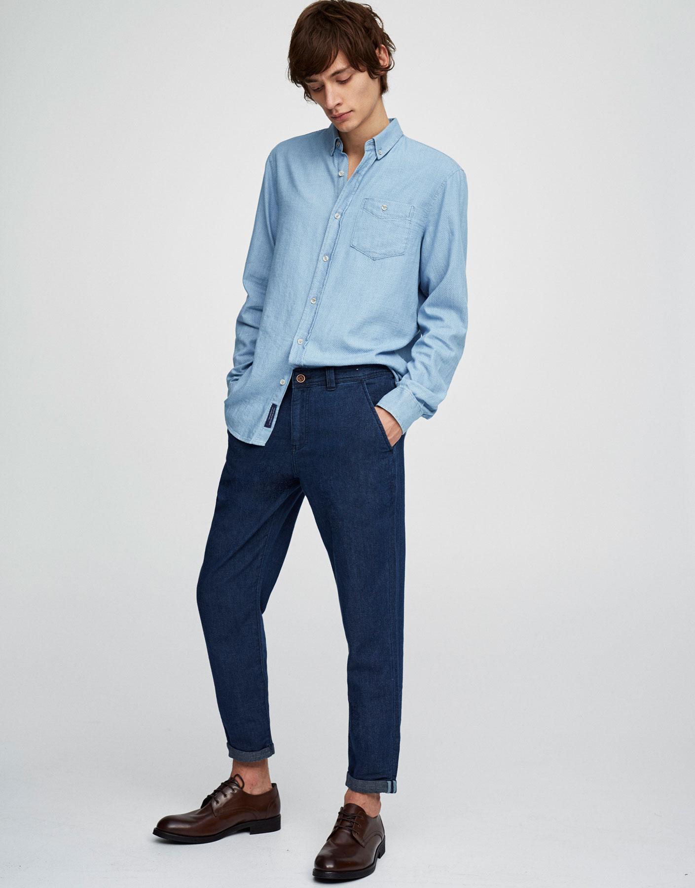 Textured weave indigo shirt
