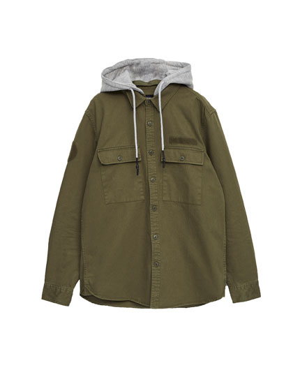 Twill overshirt with plush jersey hood