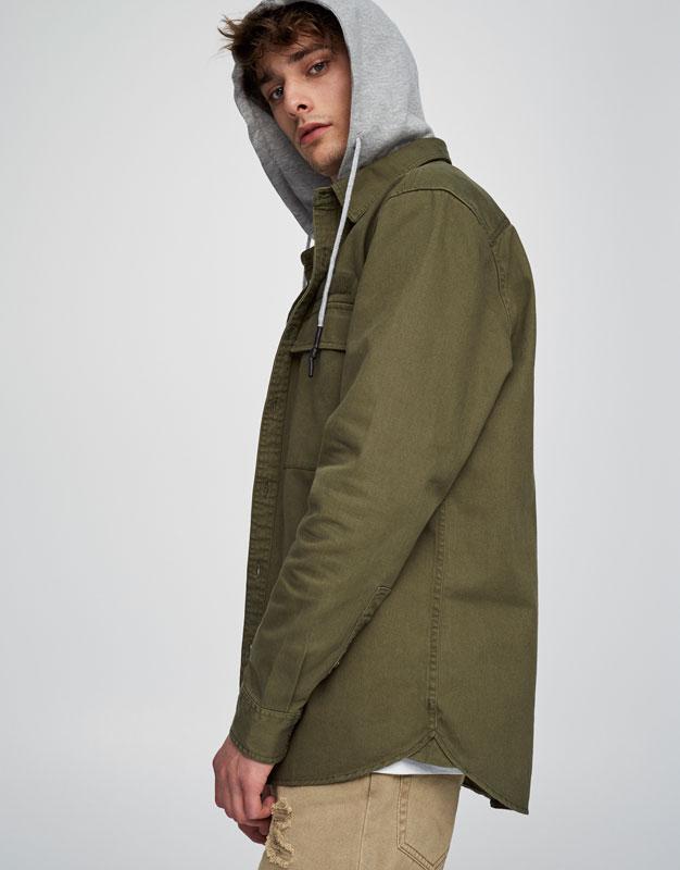 Twill overshirt with plush jersey hood