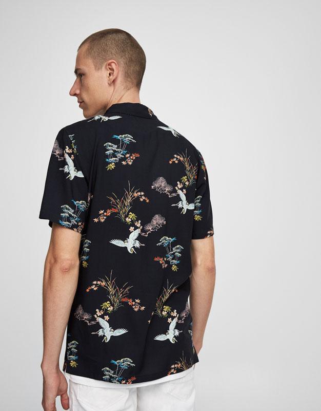 Short sleeve heron print shirt