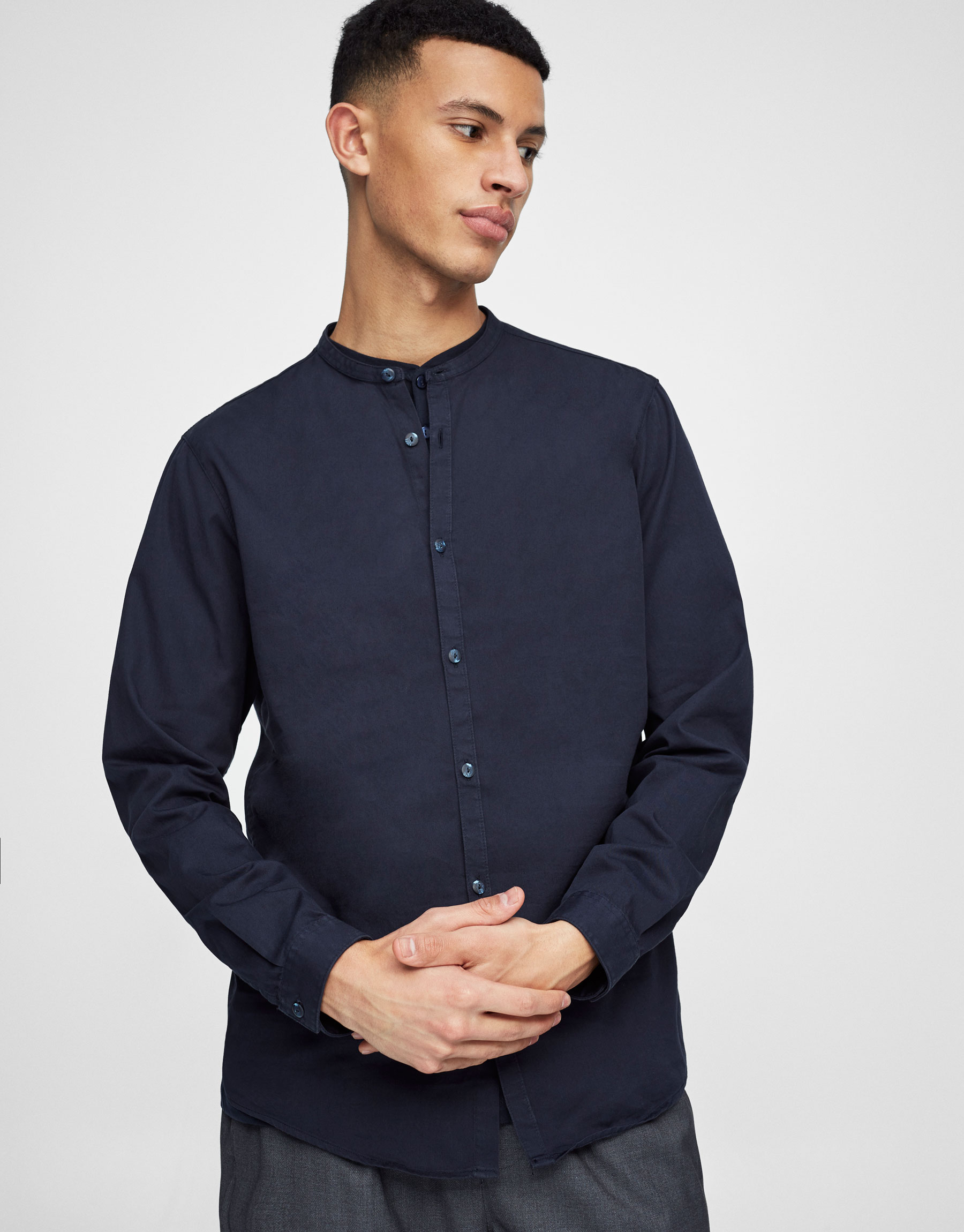 Chemise col mao twill
