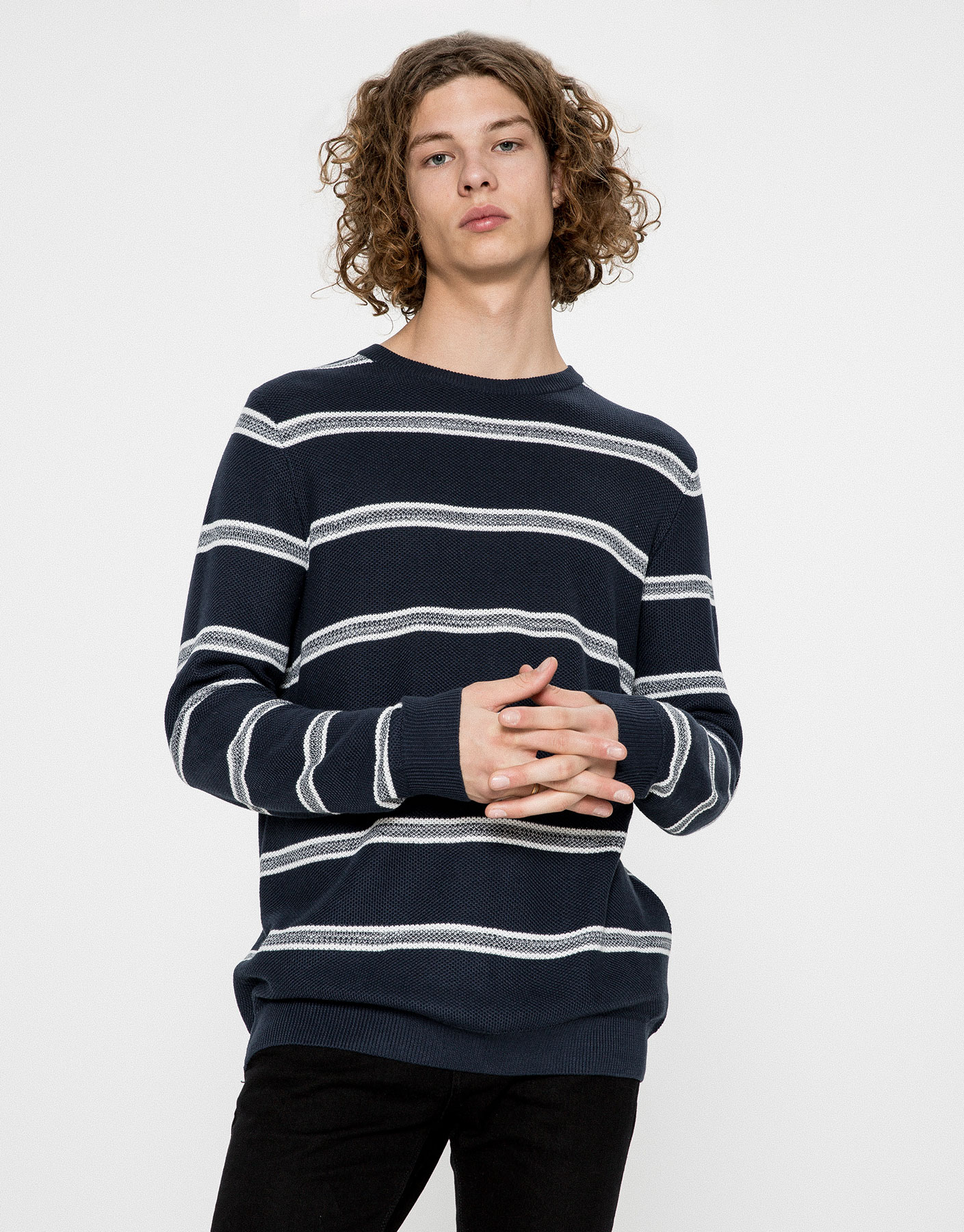 Striped textured weave sweater