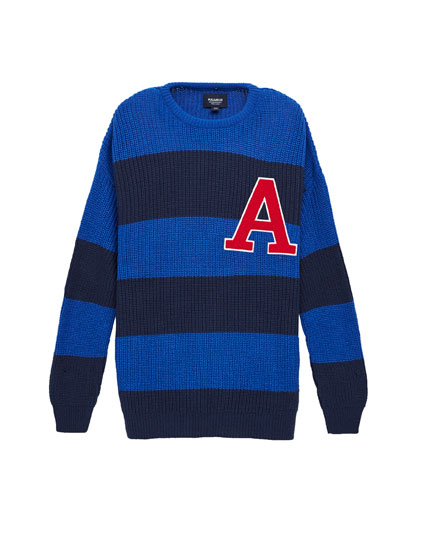 Striped patch sweater