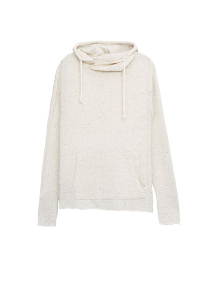 Hoodie-style sweater with pouch pocket