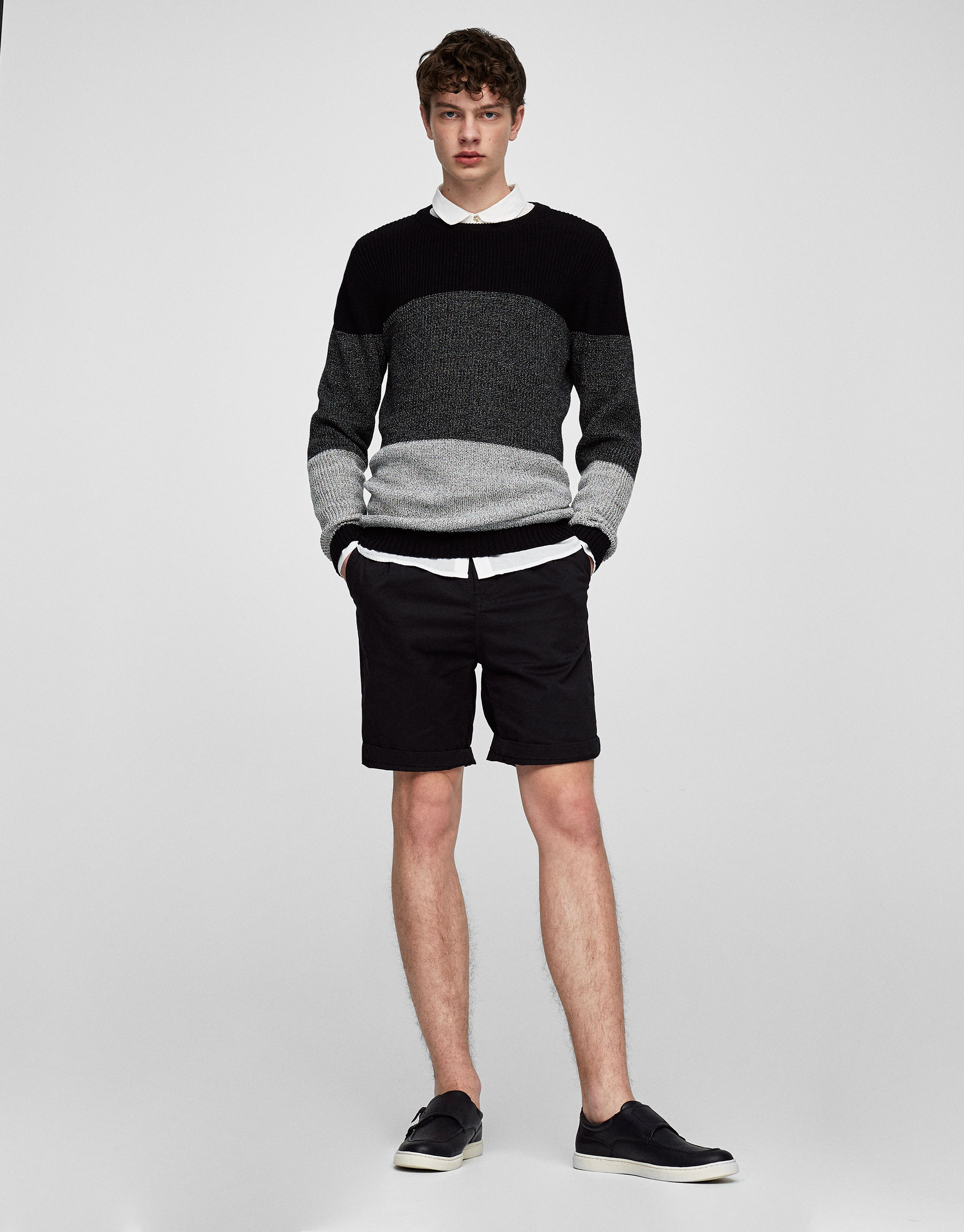 Worn-effect banded sweater with cuff detail