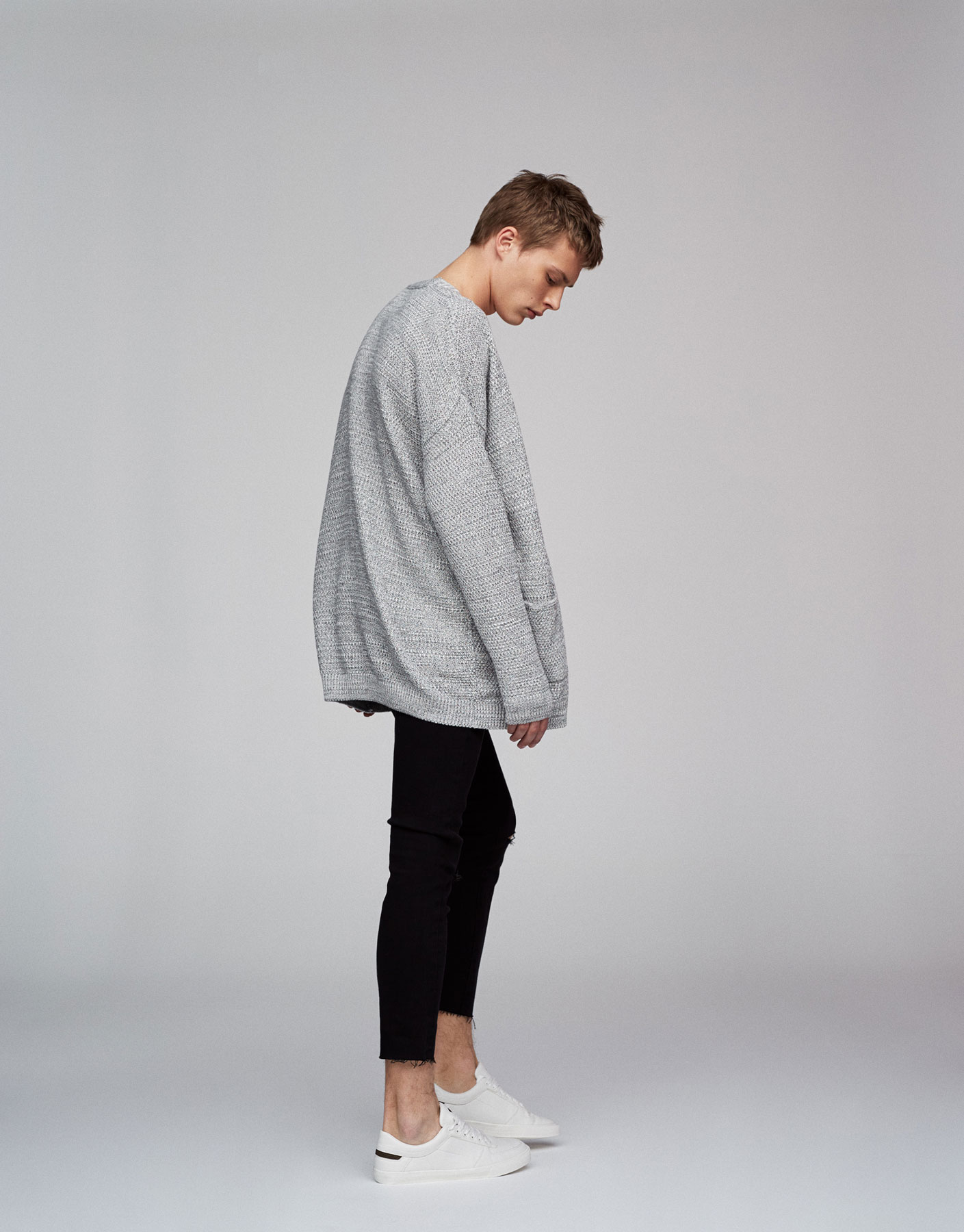 Open cardigan with dropped shoulders