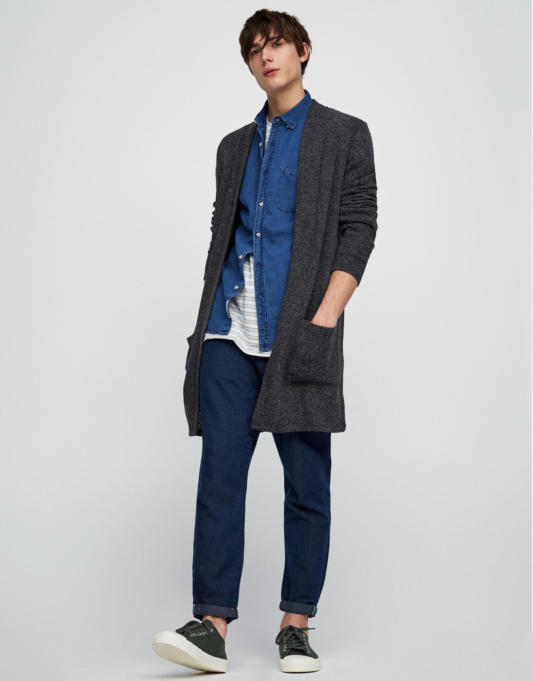 Long knit cardigan