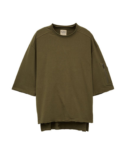Sweatshirt with round neck and 3/4 length sleeves