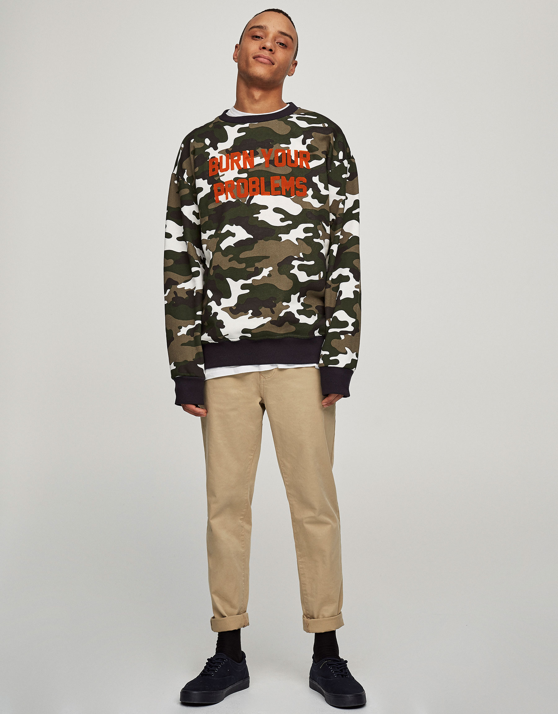 Camouflage sweatshirt with slogan