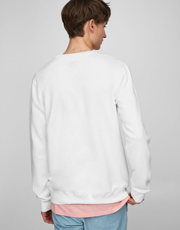 White plush sweatshirt with photographic print