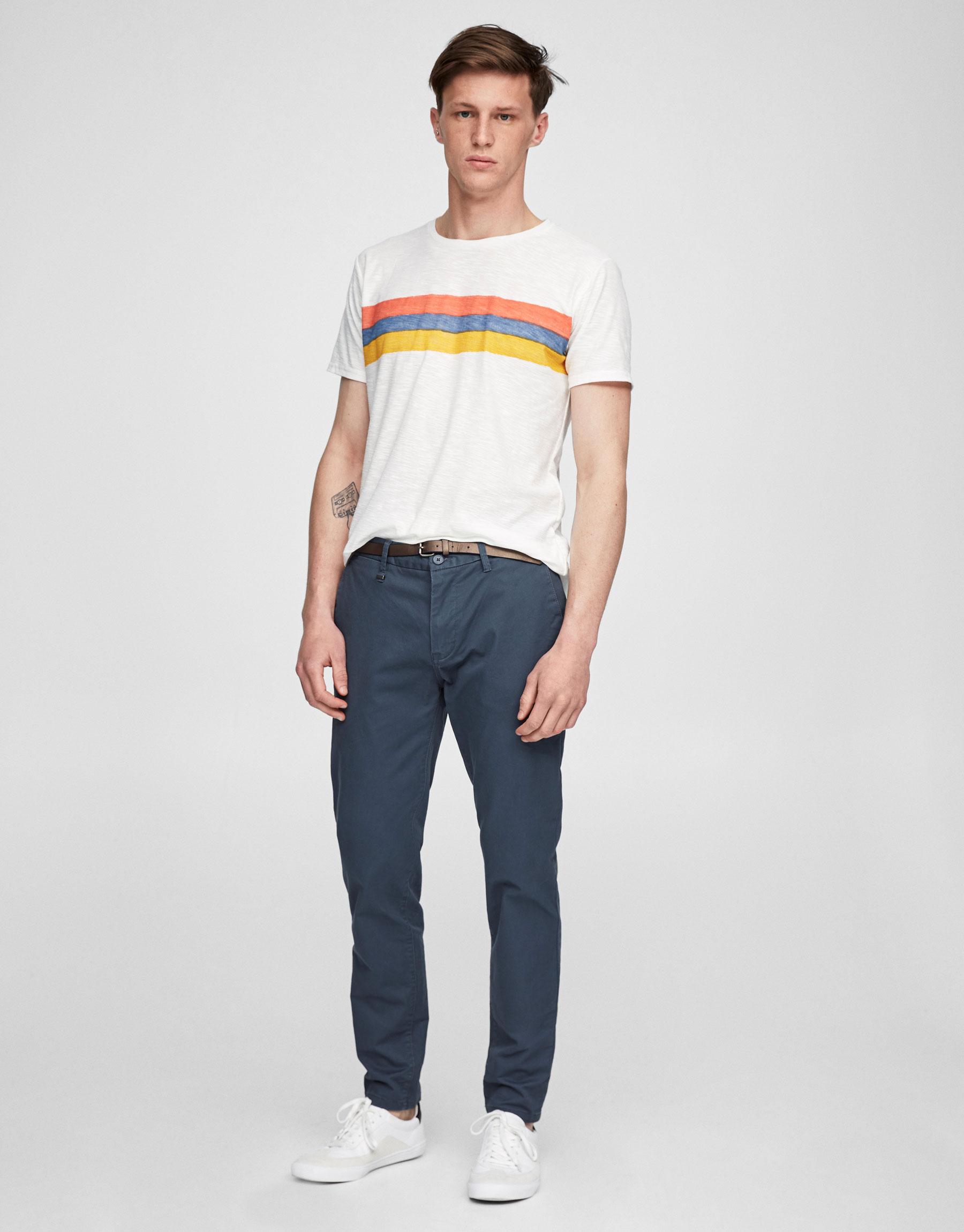 Pantalon style chino avec ceinture - Chino - Pantalons - Vêtements - Homme - PULL&BEAR France