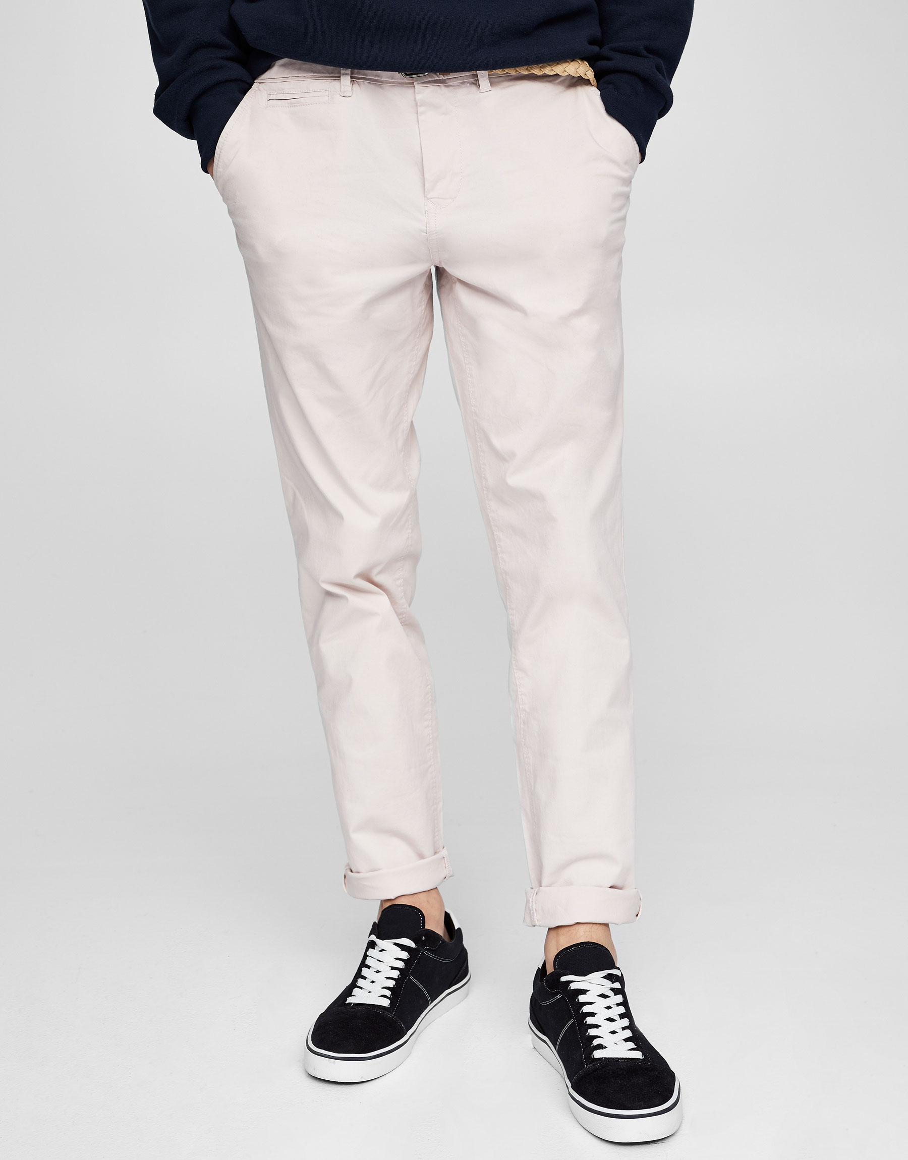 Chino-style comfort trousers with belt