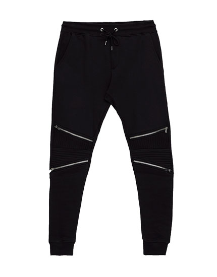Zipped biker jogging trousers