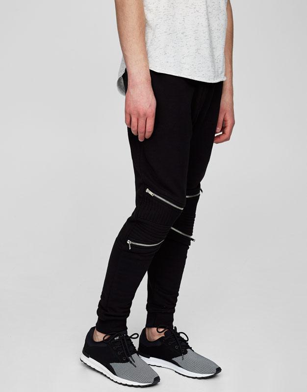 Zipped biker jogging trousers