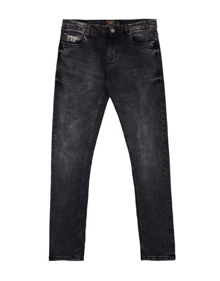 Schwarze Skinny-Fit-Jeans (Marc Márquez Kollektion)