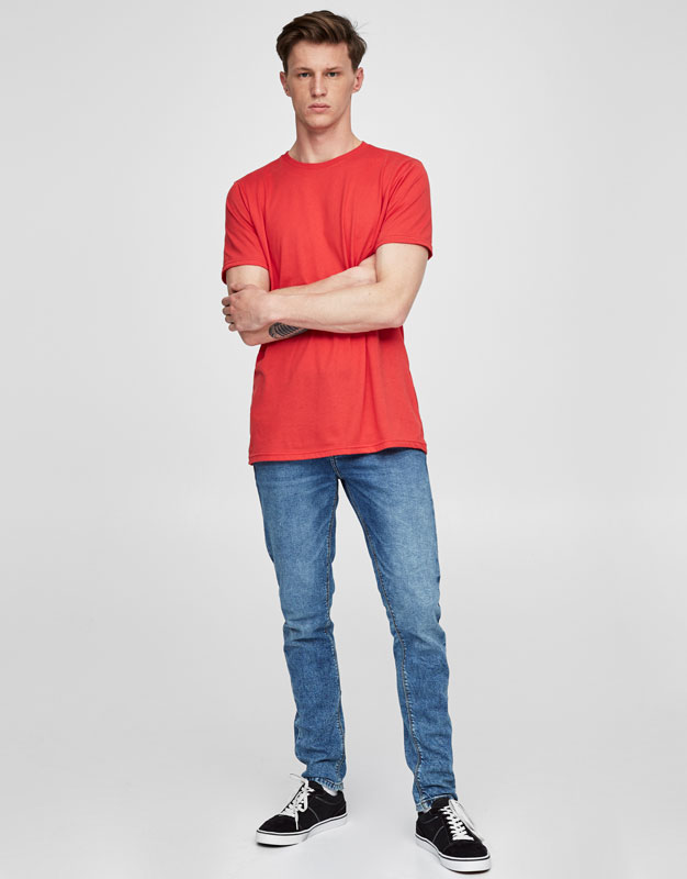 Faded blue skinny fit jeans
