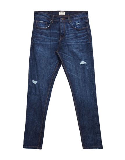 Jeans skinny fit lavado azul oscuro