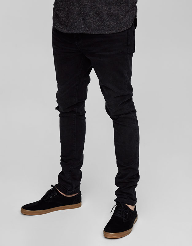 Dark grey super skinny fit jeans with seams