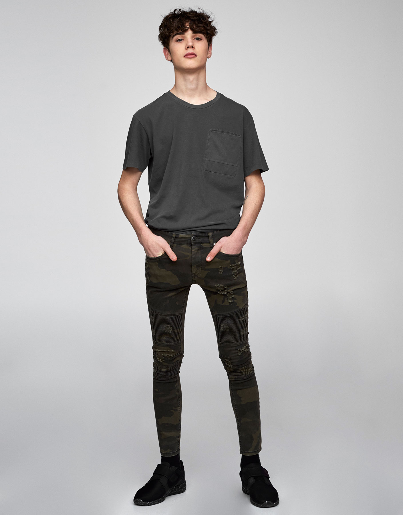 Bikerjeans im Superskinny-Fit mit Camouflageprint