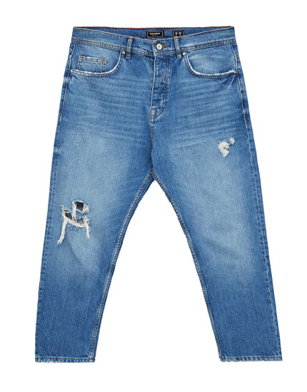 Blue cropped loose-fit jeans