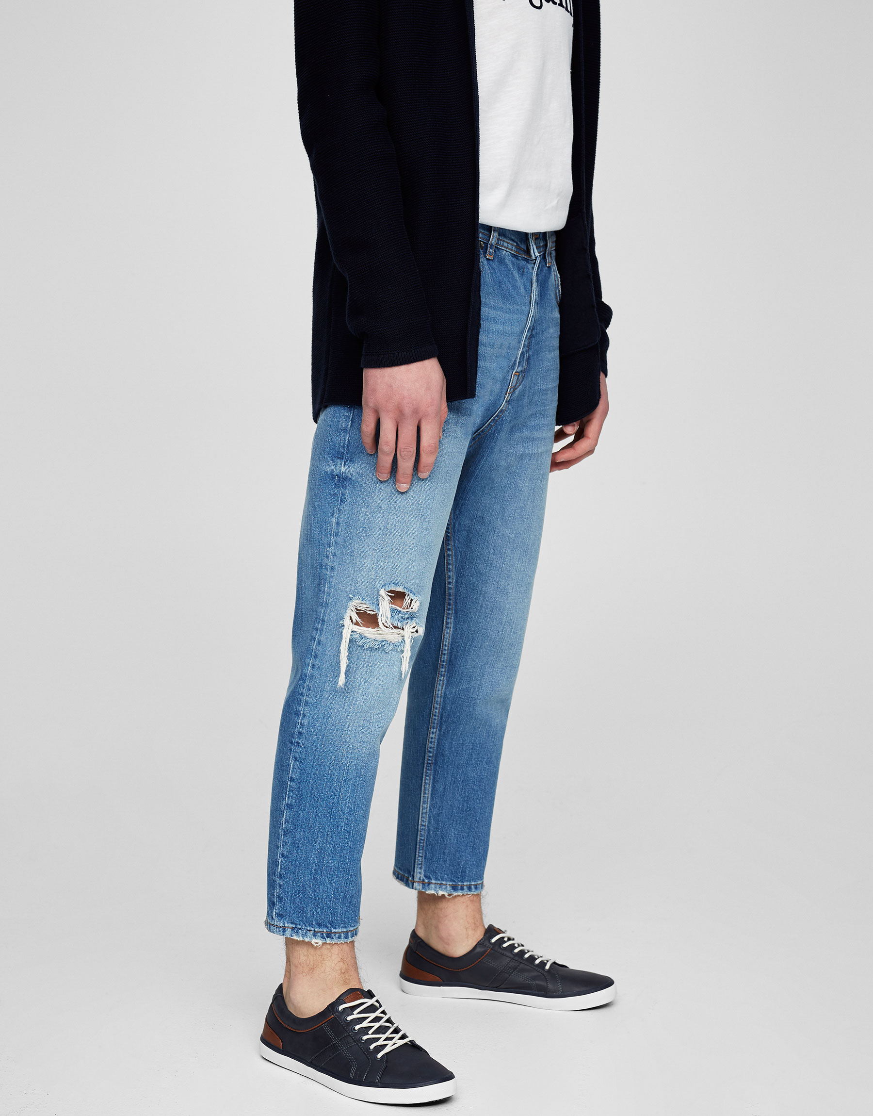 Jeans loose fit cropped azul