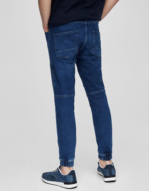 Jeans biker azul puños